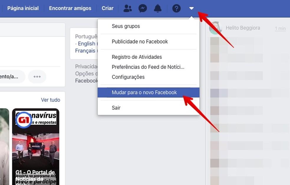 Ativando o novo visual do Facebook — Foto: Reprodução/Helito Beggiora