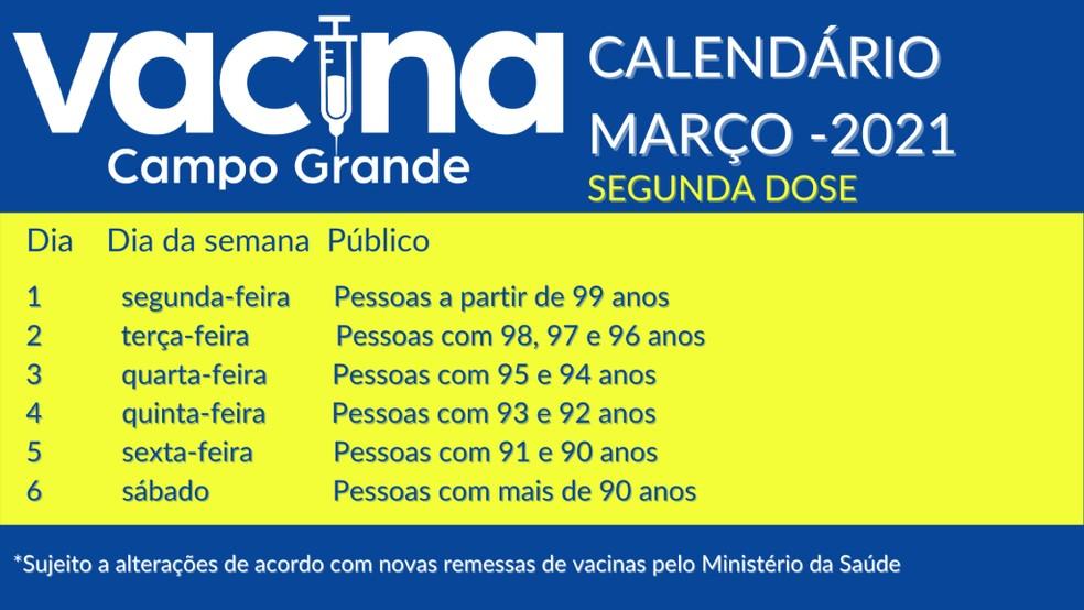 Calendário de vacinação da segunda dose em idosos de Campo Grande — Foto: PMCG/Divulgação