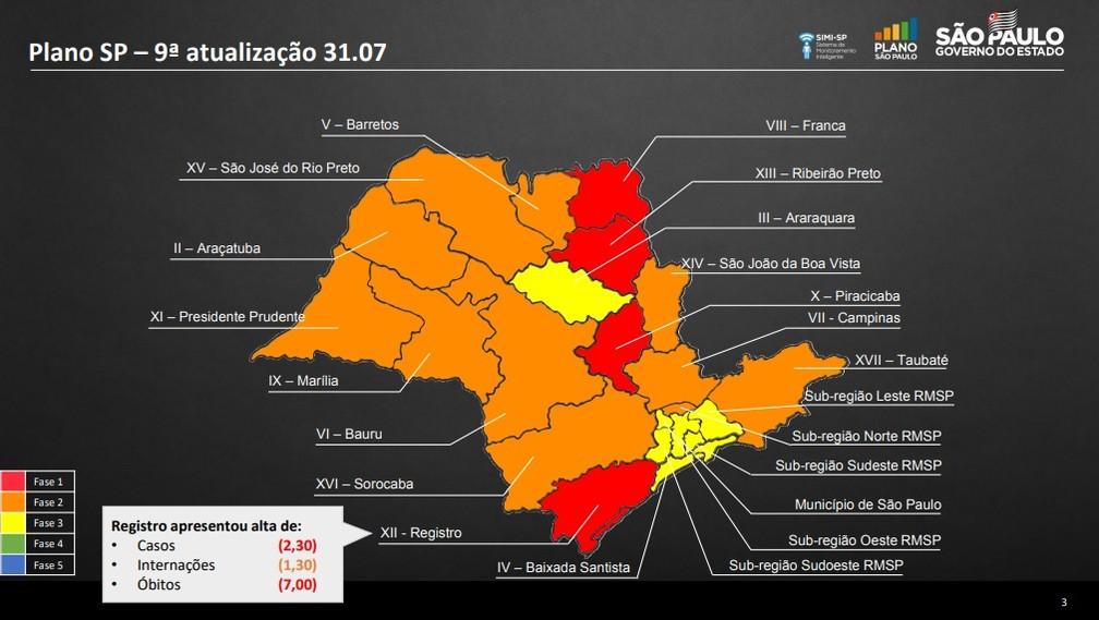 Mapa da 9ª atualização do Plano SP — Foto: Governo de SP/Divulgação