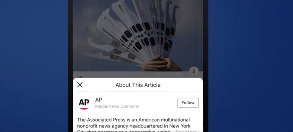 Botão do Facebook tenta combater notícias falsas — Foto: Divulgação/Facebook