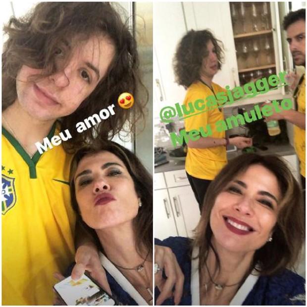 Luciana Gimenez com o filho, Lucas Jagger, torcendo pelo Brasil (Foto: Reprodução/Instagram)