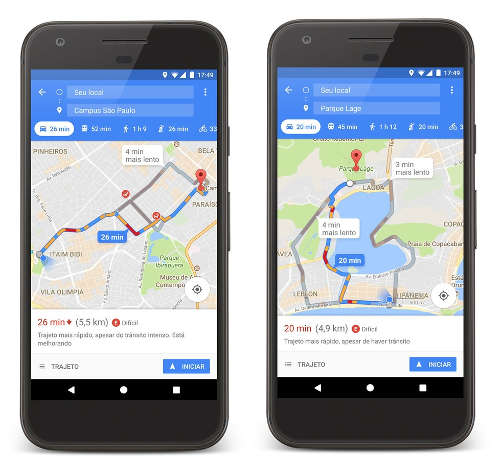 Google Maps mostra onde há maior ou menor disponibilidade para estacionar. (Foto: Divulgação/Google)