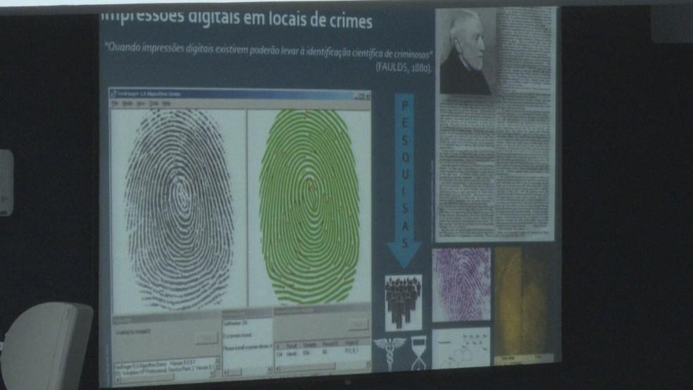 Perito da PCDF apresentou laudo que aponta digitais de Adriana Villela na cena do crime — Foto: TV Globo/Reprodução
