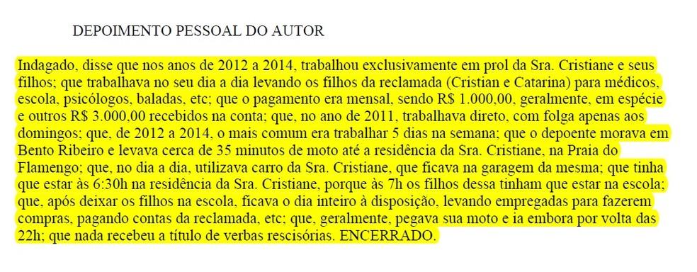 Motorista afirma que trabalhou para Cristiane Brasil de 2012 a 2014, entre 6h30 e 22h; em um dos anos, diz ele, só folgava aos domingos (Foto: Reprodução)
