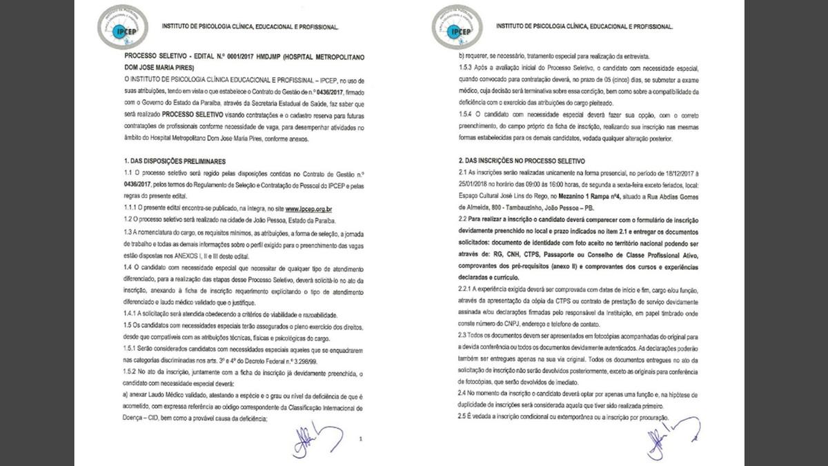 Edital do processo seletivo para Hospital Metropolitano da Paraíba é divulgado