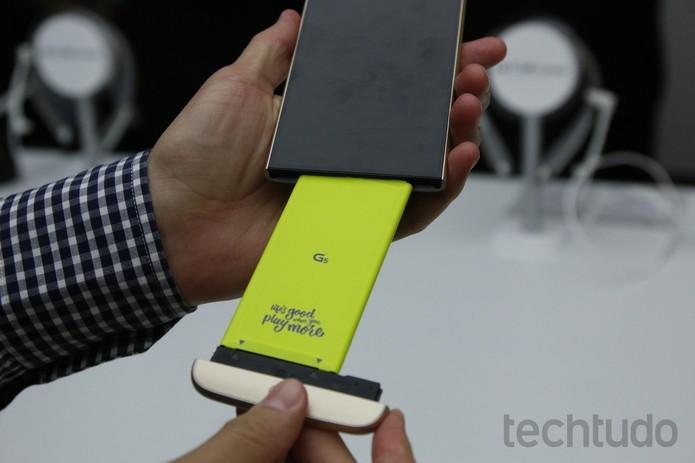 LG G5 tem design modular que permite a expansão de funções do aparelho (Foto: Fabrício Vitorino/TechTudo) (Foto: LG G5 tem design modular que permite a expansão de funções do aparelho (Foto: Fabrício Vitorino/TechTudo))