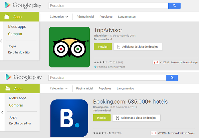 Ambos os sites têm aplicativos para celular (Foto: Divulgação)