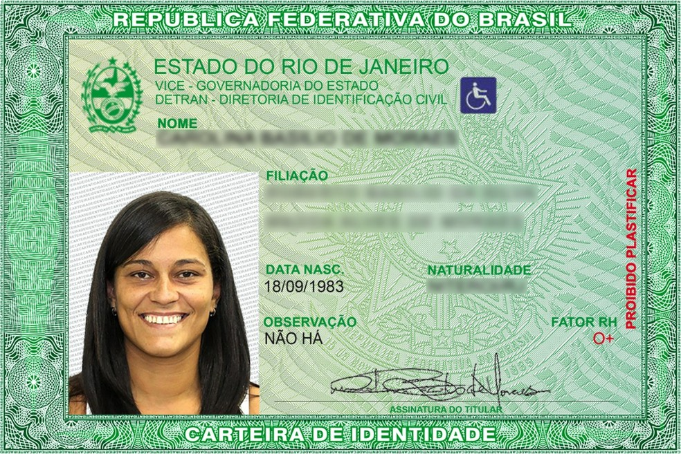 Novo modelo da carteira de identidade. — Foto: Divulgação/Detran RJ