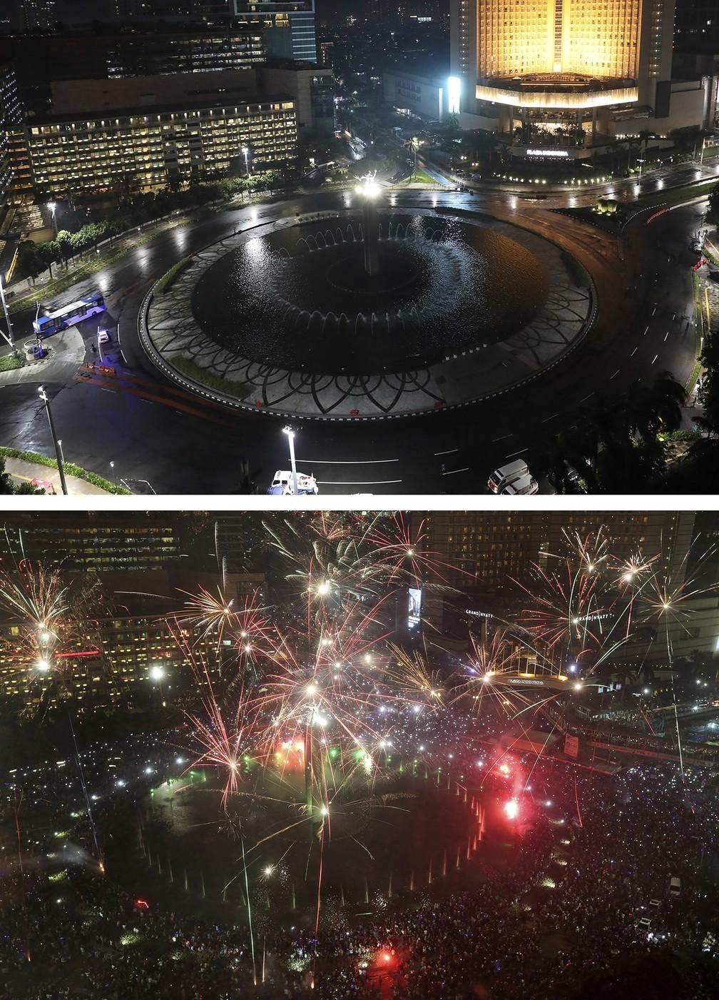 Montagem mostra pessoas em 31 de dezembro de 2020 (acima) e durante celebrações da véspera do Ano Novo em 31 de dezembro de 2016, em Jacarta, na Indonésia — Foto: Dita Alangkara, Tatan Syuflana/AP