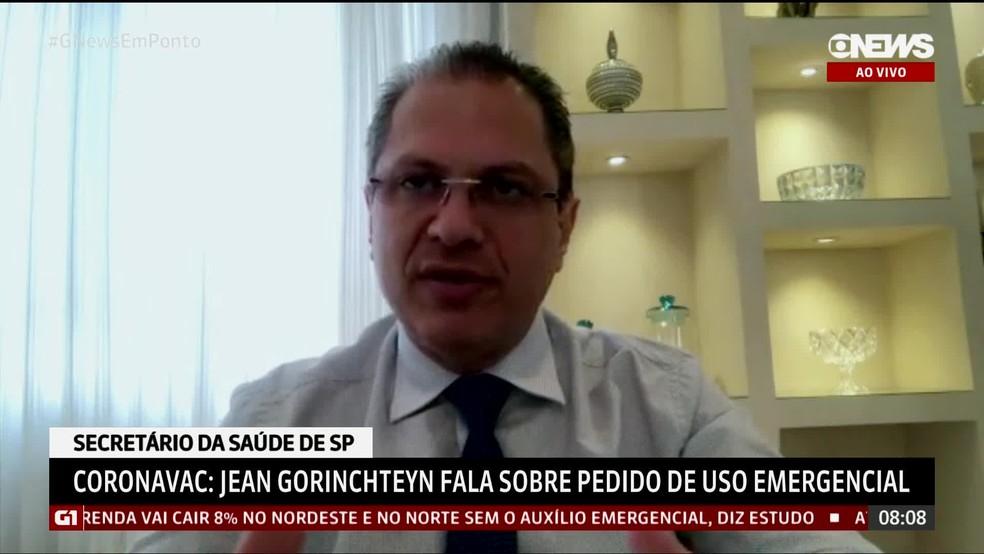 Secretário da Saúde em entrevista à Globonews nesta segunda-feira (11) — Foto: Reprodução/GloboNews