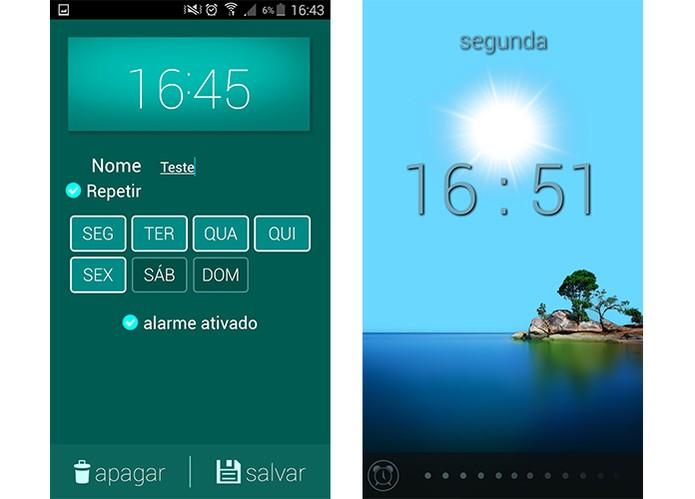 Despertador usa efeitos de iluminação da tela para acordar usuário (Foto: Reprodução/Barbara Mannara)