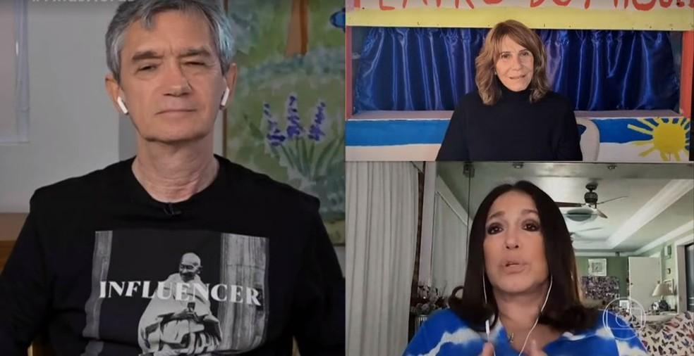 Serginho Groisman recebeu Renata Sorrah e Susana Vieira no 'Altas Horas' — Foto: Reprodução/ TV Globo
