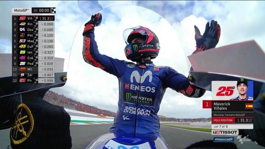 Viñales quebra jejum, faz a pole em Valência e sai na frente em disputa particular com Rossi