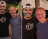 Rodolffo encontra Tony Kanaan e Rubens Barrichello e pede vacina