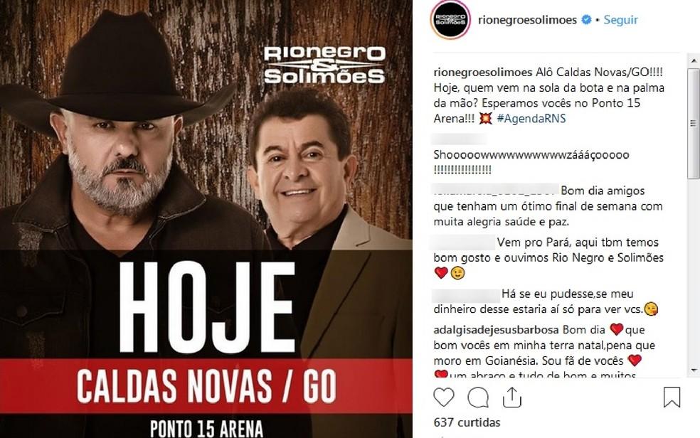 Show marcado da dupla para Caldas Novas foi mantido apesar do acidente — Foto: Instagram/Reprodução