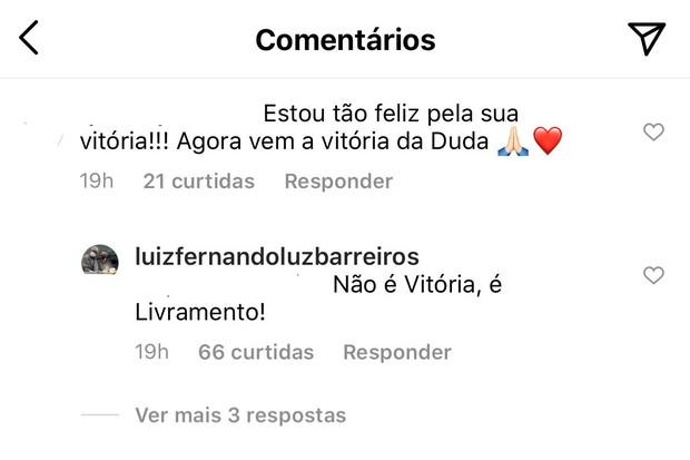 Comentário do pai de Duda Reis (Foto: Reprodução/Instagram)