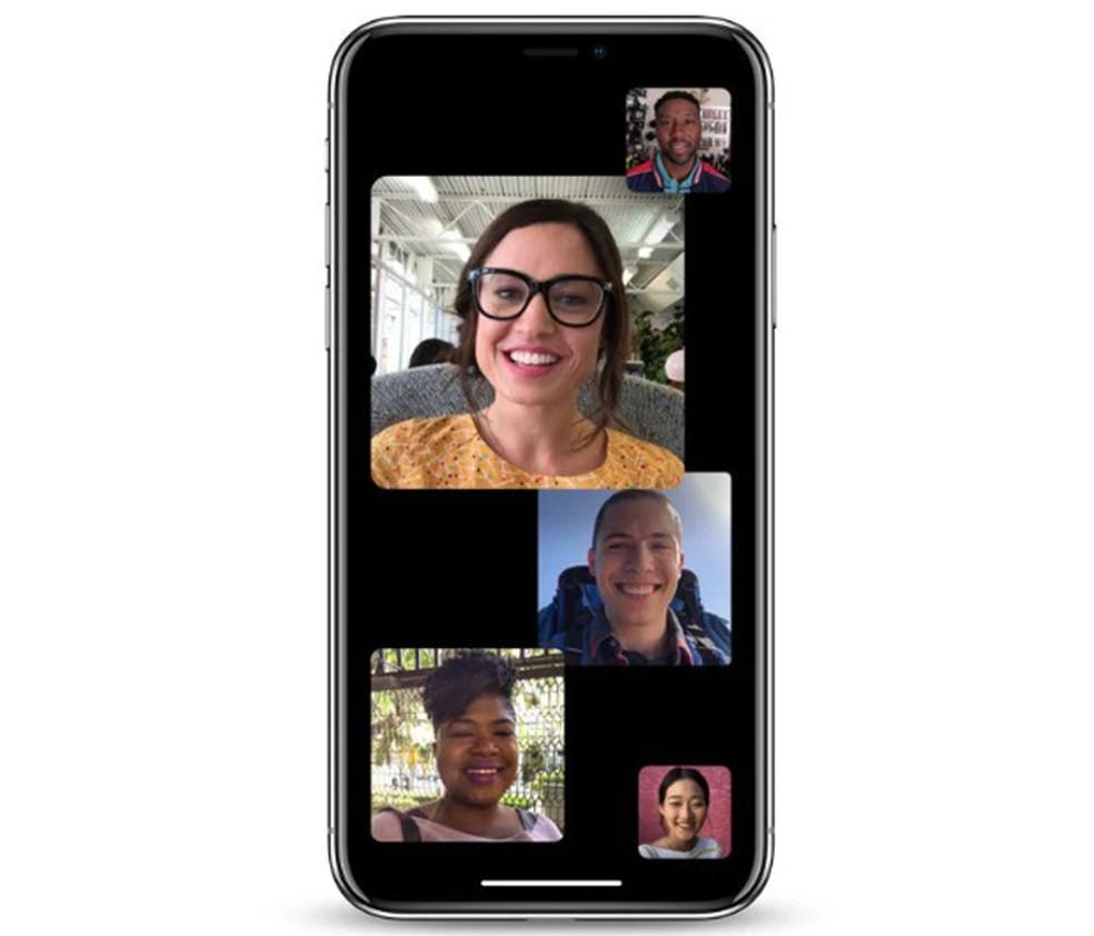 No iOS 13.5, usuário pode controlar o destaque dos blocos de vídeo nas chamadas em grupo do FaceTime — Foto: Divulgação/Apple