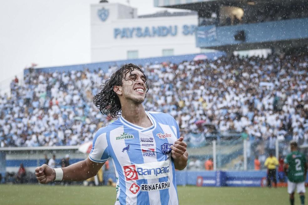 Xodó da Fiel Bicolor, Nicolas tem 34 gols em 86 partidas com a camisa do Paysandu — Foto: Jorge Luiz/Ascom Paysandu