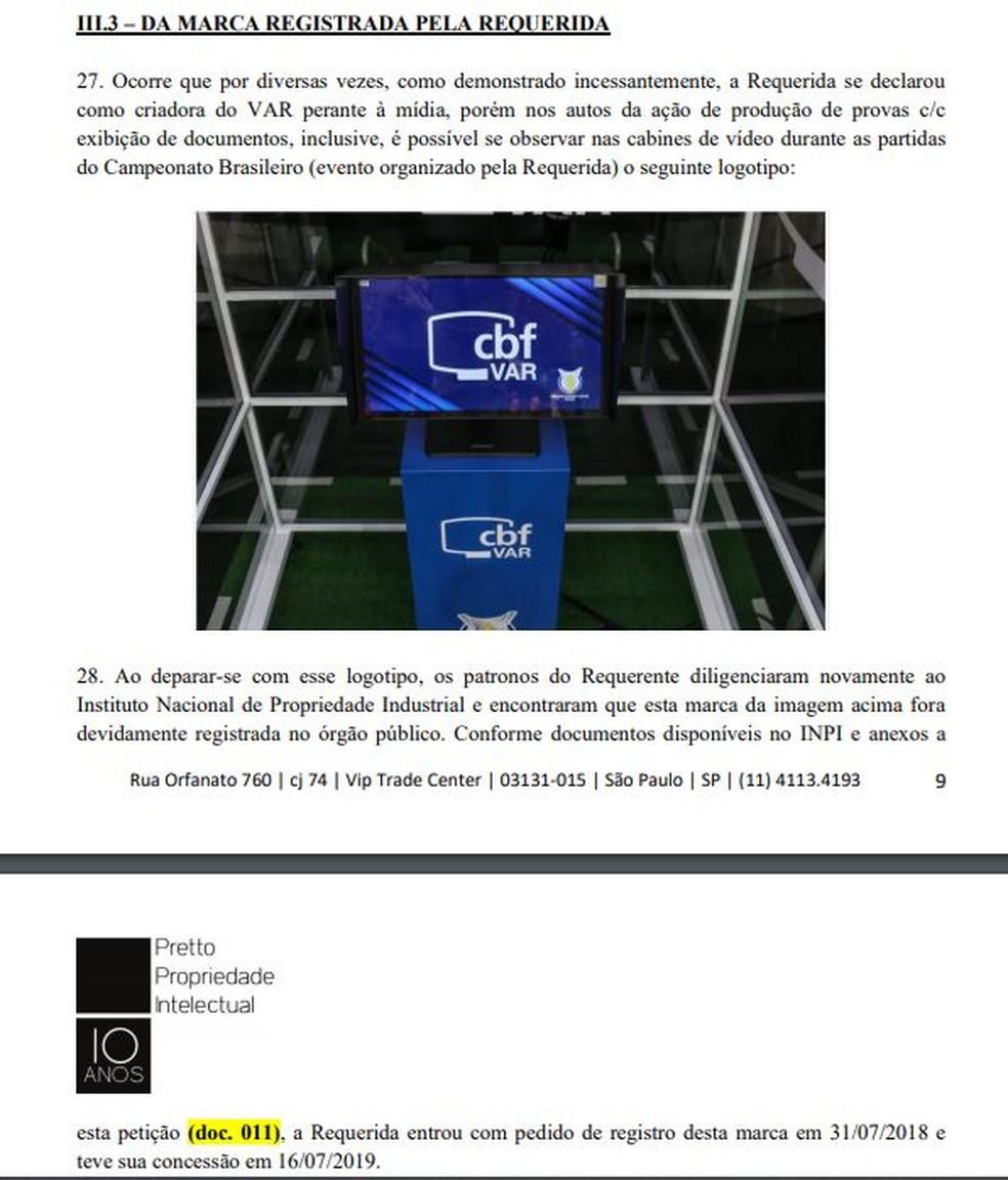 Trecho da ação de boliviano diz que CBF registrou marca do VAR no Instituto Nacional de Propriedade Industrial — Foto: Reprodução