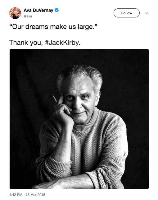 A homenagem da cineasta Ava DuVarney ao quadrinista Jack Kirby (Foto: Twitter)
