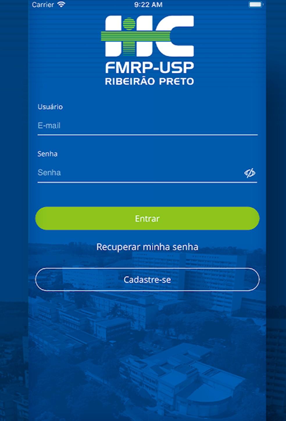 Interface do aplicativo Nosso HC Ribeirão, para pacientes do Hospital das Clínicas de Ribeirão Preto — Foto: Reprodução/ Nosso HC Ribeirão