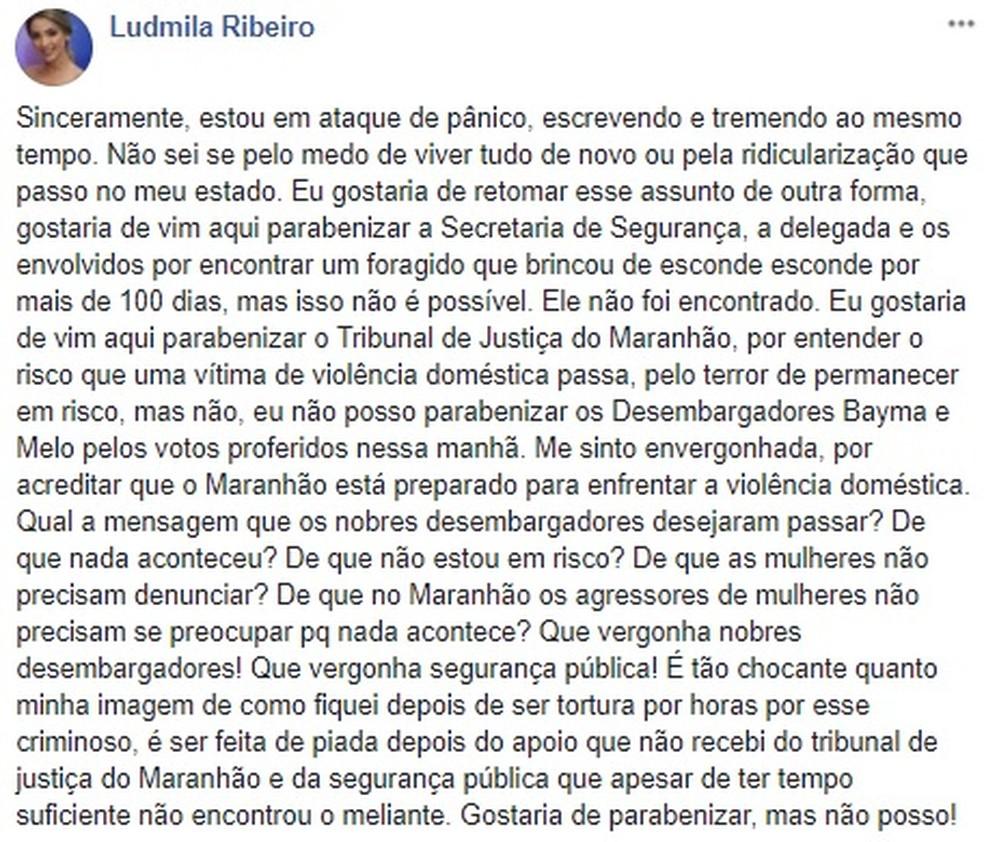 Ludmila Ribeiro desabafou em uma rede social depois da decisão da Justiça do Maranhão (Foto: Reprodução / Internet)