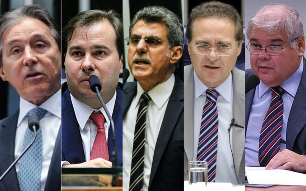 Parlamentares que são investigados no inquérito, da esquerda para a direita: Eunício Oliveira, Rodrigo Maia, Romero Jucá, Renan Calheiros e Lúcio Vieira Li,a (Foto: Arte/G1)
