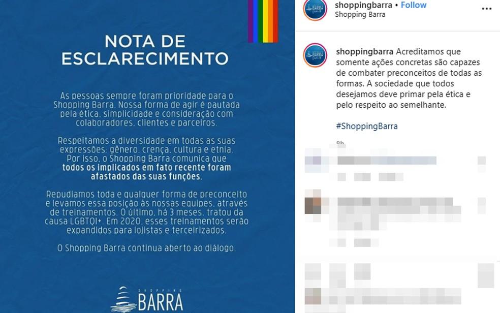 Posicionamento do Shopping Barra após cliente ser vítima de homofobia no banheiro do centro de compras localizado em Salvador — Foto: Reprodução/Instagram
