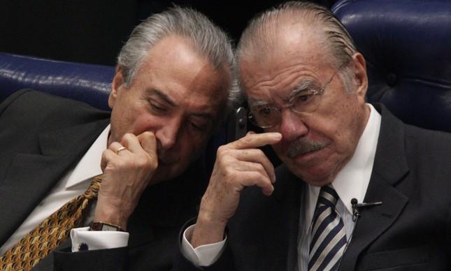 Michel Temer e José Sarney (Foto: André Coelho / Agência O Globo / Arquivo)