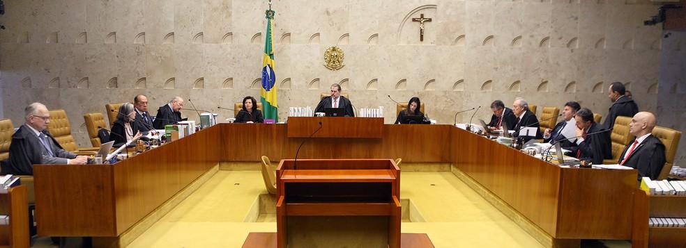 Ministros do Supremo Tribunal Federal (STF) durante sessão desta quarta-feira (14) — Foto: Nelson Jr./SCO/STF