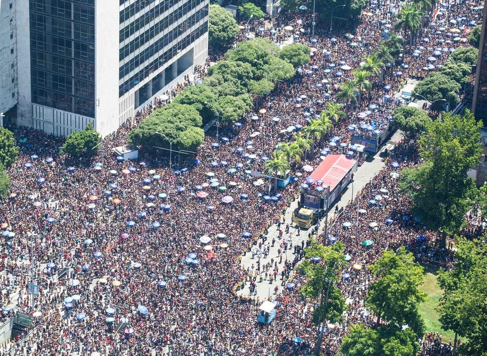 Bloco da Preta, no Centro do Rio, atraiu 260 mil pessoas no domingo pré-carnaval  — Foto: Fernando Maia/Riotur