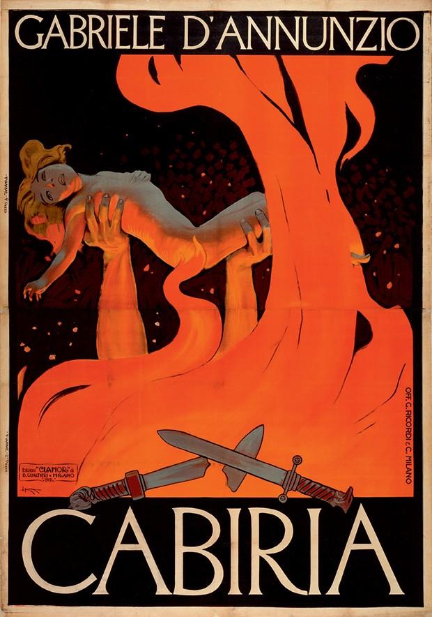 Pôster do filme mudo Cabiria (1914), com roteiro do poeta italiano Gabriele d'Annunzio, que influenciou o cinema americano com sua narrativa da Roma antiga (Foto: Divulgação)