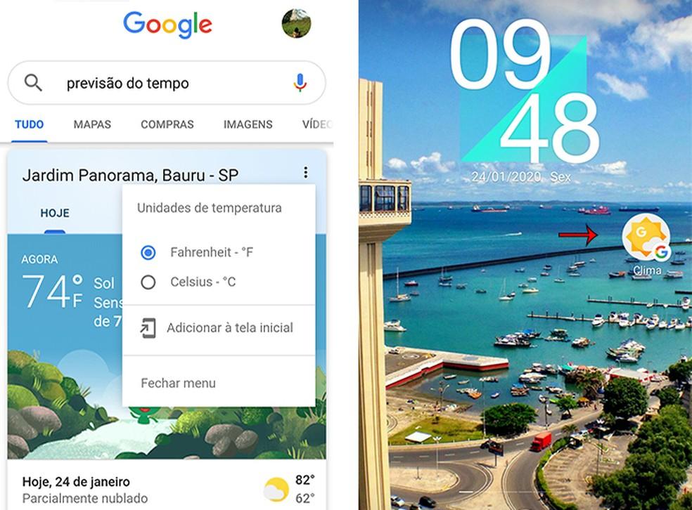 Crie atalho de previsão do tempo com o Google App — Foto: Reprodução/Marcela Franco