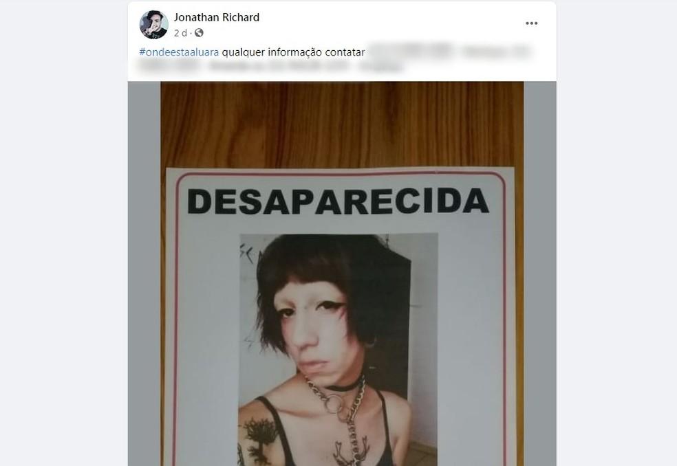 Jonathan Richard, namorado da jovem transexual Luara Redfield preso suspeito de matá-la em Mairinque, fez postagem sobre o desaparecimento dela — Foto: Facebook/Reprodução