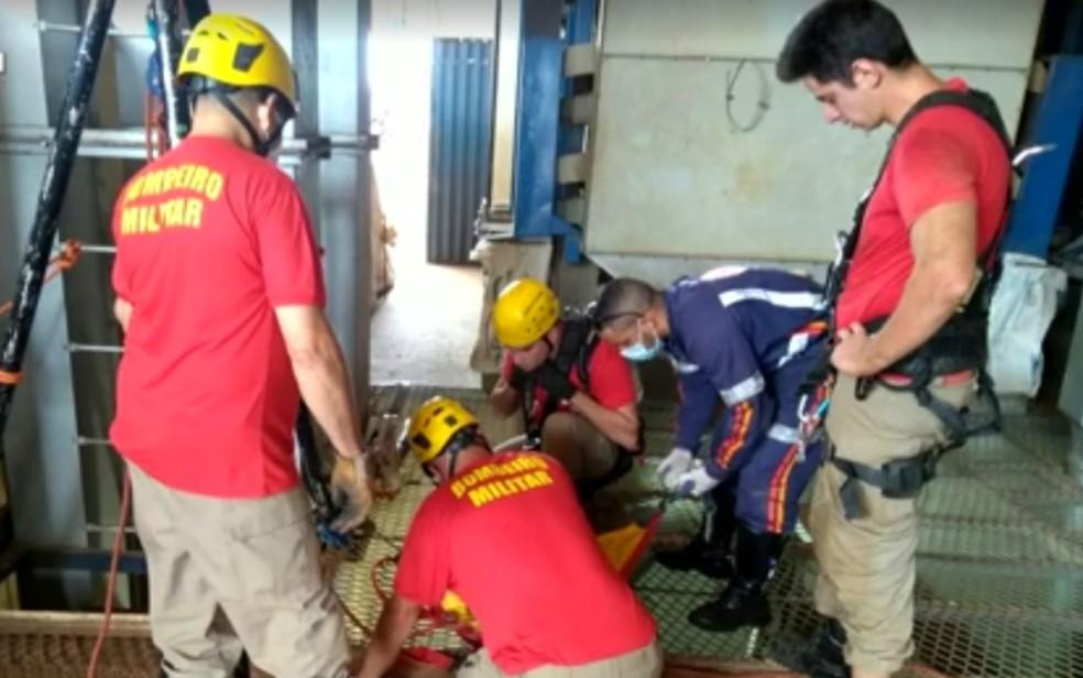 Bombeiros trabalham para resgatar corpos de irmãos que morreram em secador de grãos — Foto: Reprodução/TV Anhanguera