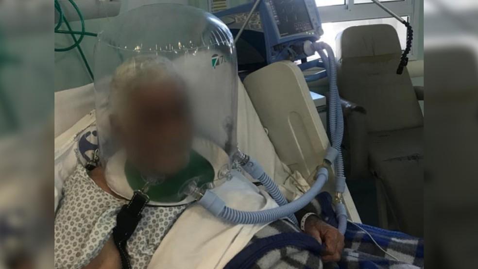 Hospitais de Curitiba estão usando o capacete para ajudar pacientes com Covid-19. — Foto: Divulgação