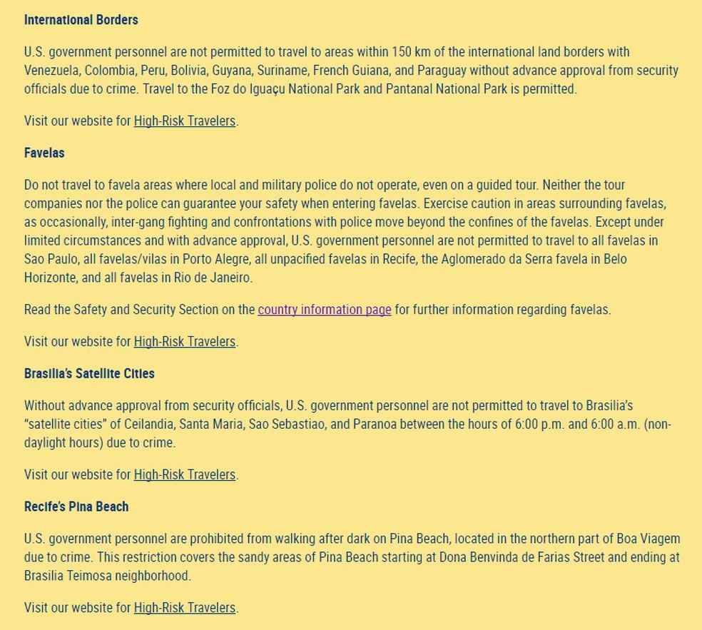Comunidado do Departamento de Estado dos Estados Unidos sobre áreas de risco no Brasil foi publicado na quarta-feira (10) (Foto: Reprodução/Departamento de Estado dos Estados Unidos)