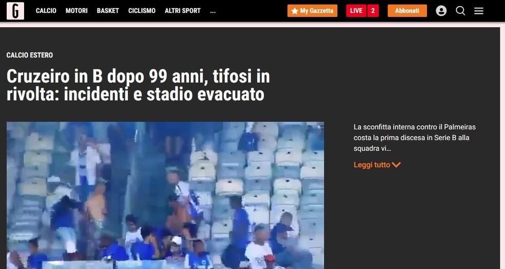 La Gazzeta dello Sport, da Itália, sobre a queda do Cruzeiro — Foto: Reprodução