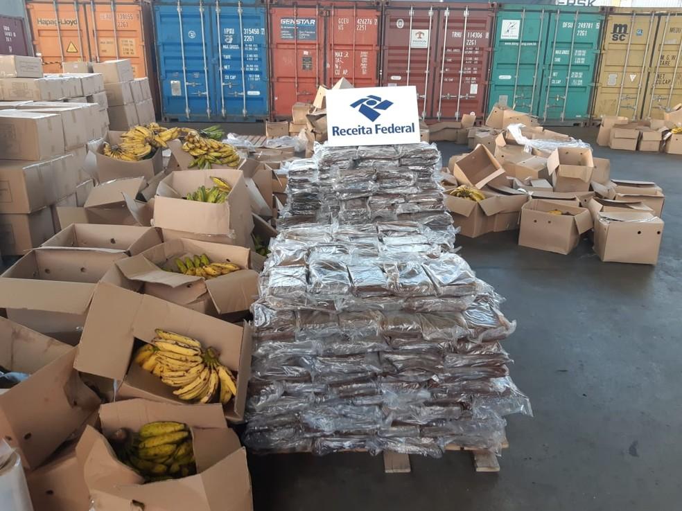 Cocaína estava escondida em carga de bananas em Suape, no Grande Recife, em 2019 — Foto: Receita Federal/Divulgação