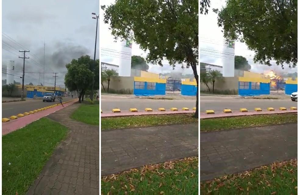 Testemunha registrou explosão em empresa de fabricação de gás — Foto: Arquivo pessoal