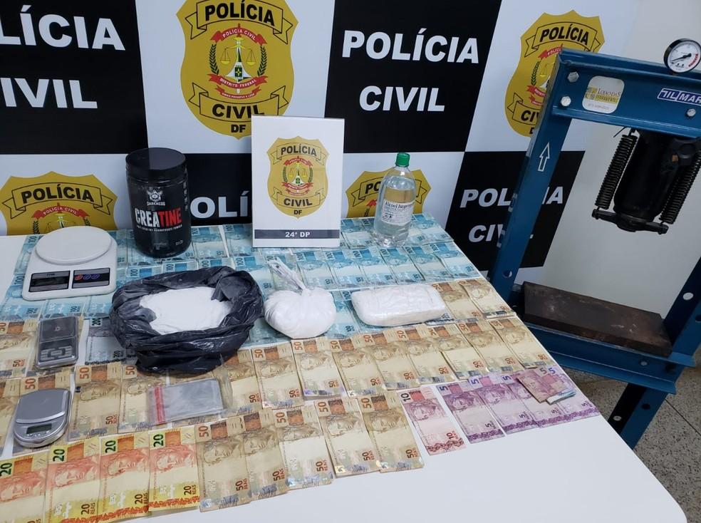 Policiais civis descobriram um laboratório de fabricação de cocaína, no Riacho Fundo II, no DF — Foto: PCDF / Reprodução