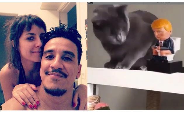 A atriz Andreia Horta e o humorista Marco Gonçalves postaram o mesmo vídeo: um gato jogando no chão um boneco de Donaldo Trump com a legenda: 'Fim' (Foto: Reprodução/Instagram)
