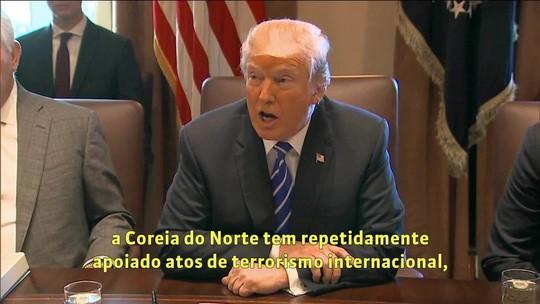 Trump inclui Coreia do Norte entre 'patrocinadores do terrorismo'