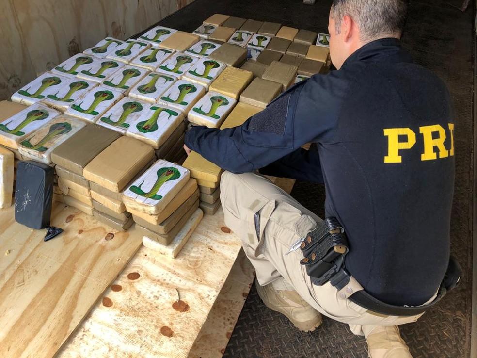 Droga apreendida em fundo falso de caminhão, no Rio Grande do Sul, em janeiro de 2020 — Foto: Polícia Rodoviária Federal/Divulgação