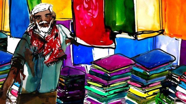Abu Taher, que processou o filho, tinha uma loja pequena de roupas e diz que passou dificuldades após se aposentar (Foto: Katie Horwich)