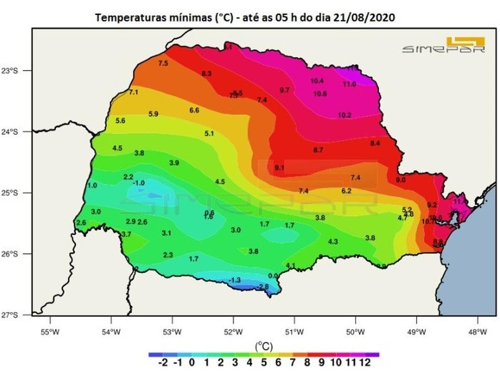 Mapa do Simepar mostra as mínimas abaixo de 12ºC em todas as regiões do Paraná — Foto: Reprodução/Simepar