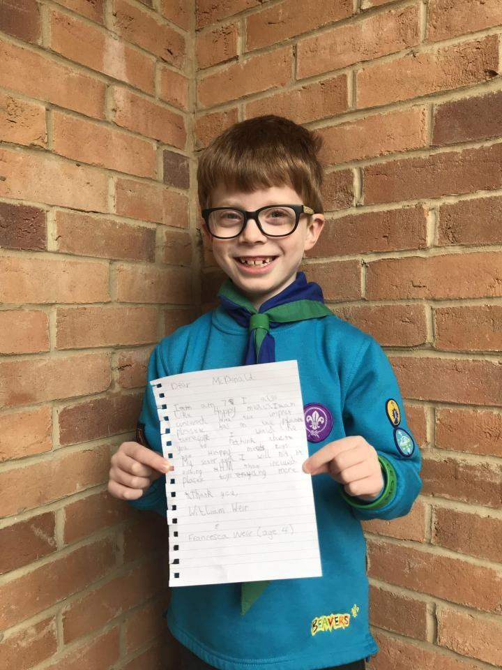 William Weir e sua carta (Foto: Reprodução Facebook)