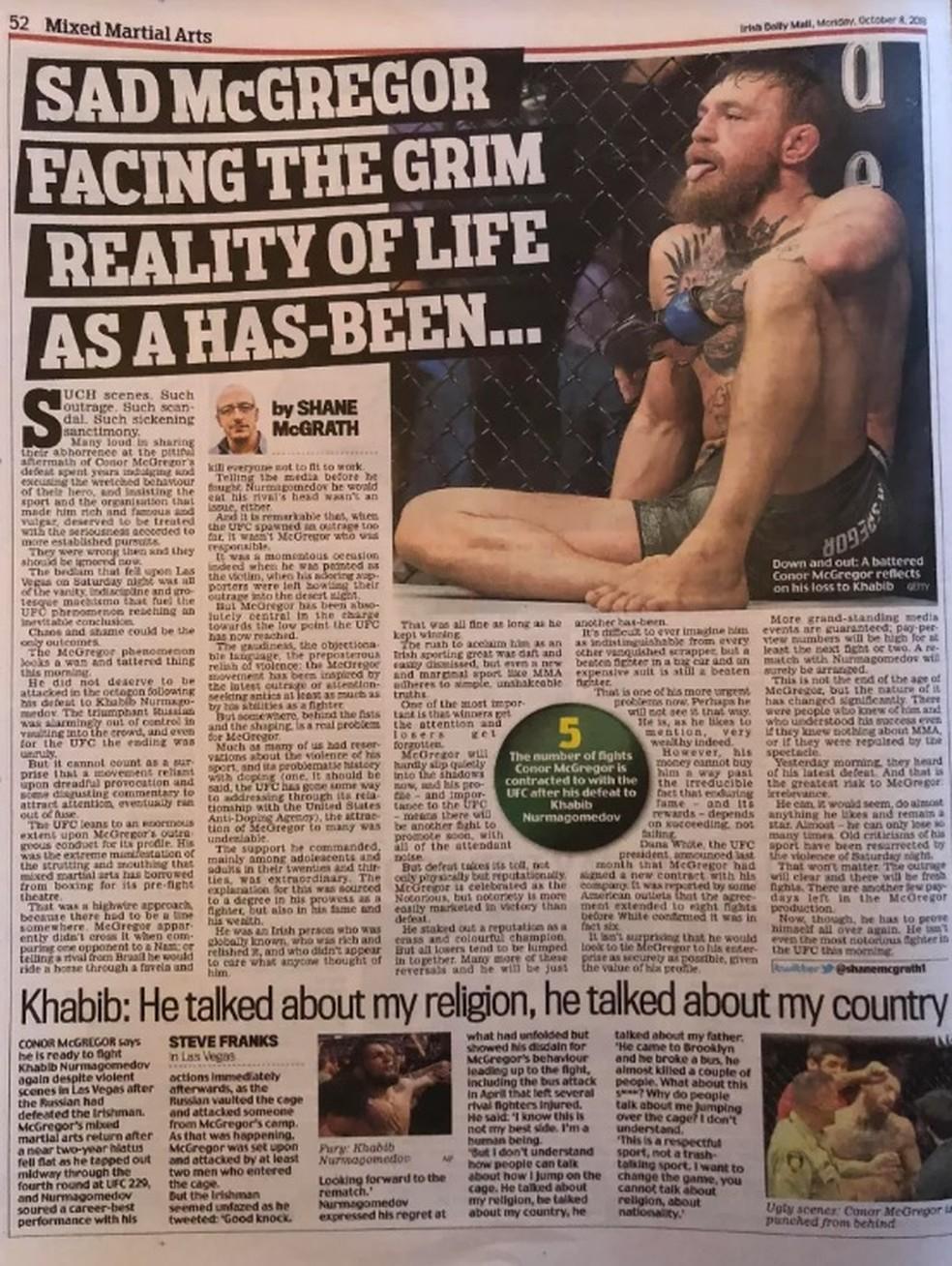 Coluna do Irish Daily Mail detona Conor McGregor — Foto: Reprodução/MMA Fighting