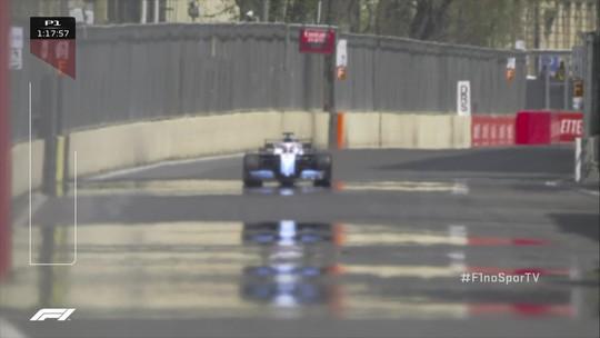 George Russell passa em cima de tampa de bueiro em treino da Fórmula 1