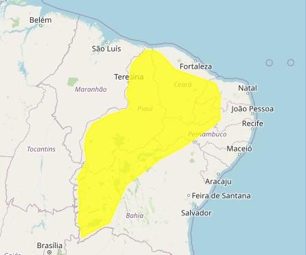 Inmet emite alerta amarelo de chuvas intensas para 92 cidades no Sertão da PB